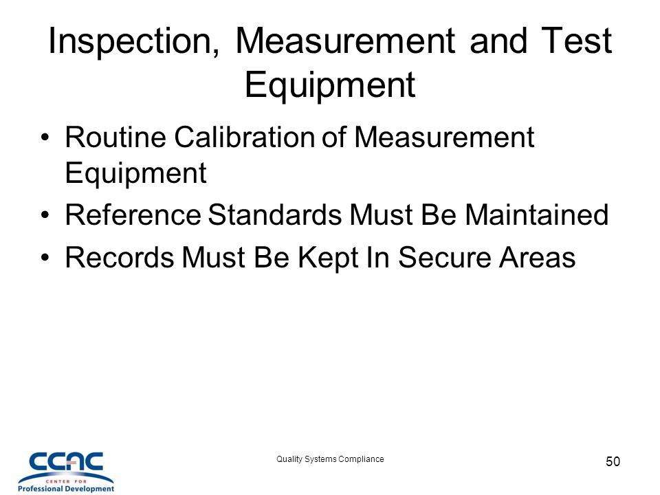 Inspection, Measurement and Test Equipment