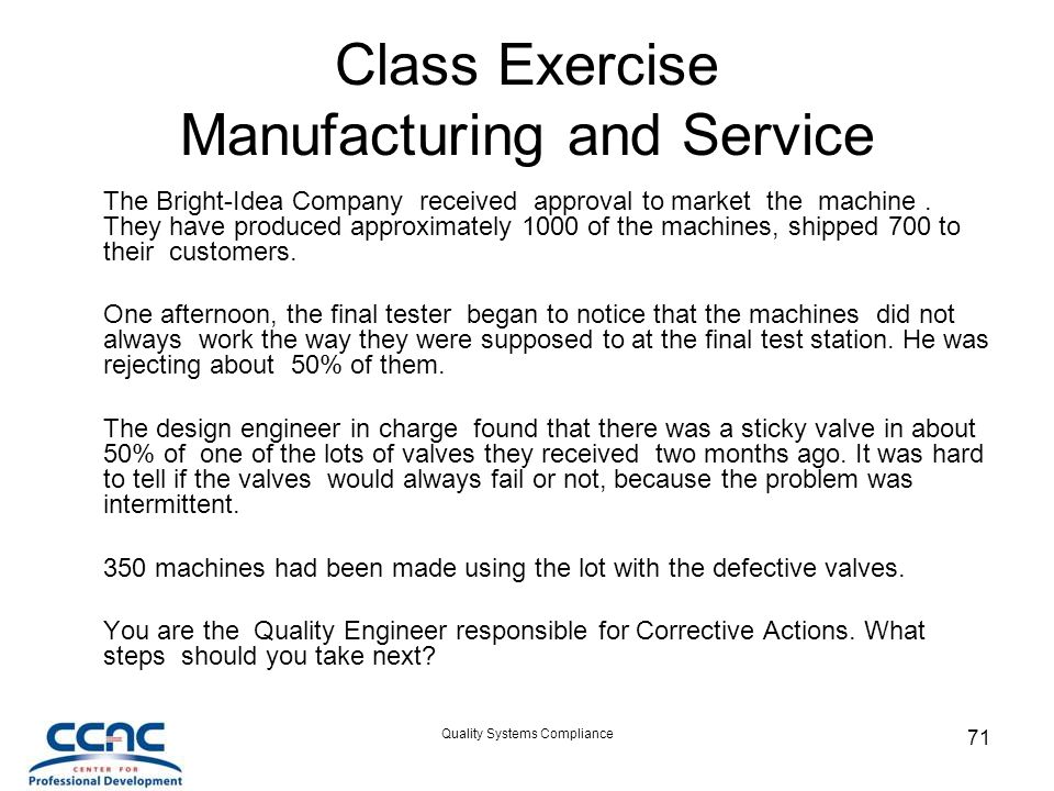 Class Exercise Manufacturing and Service