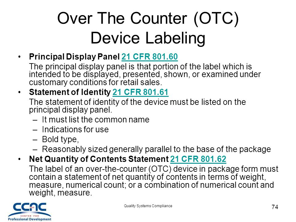 Over The Counter (OTC) Device Labeling