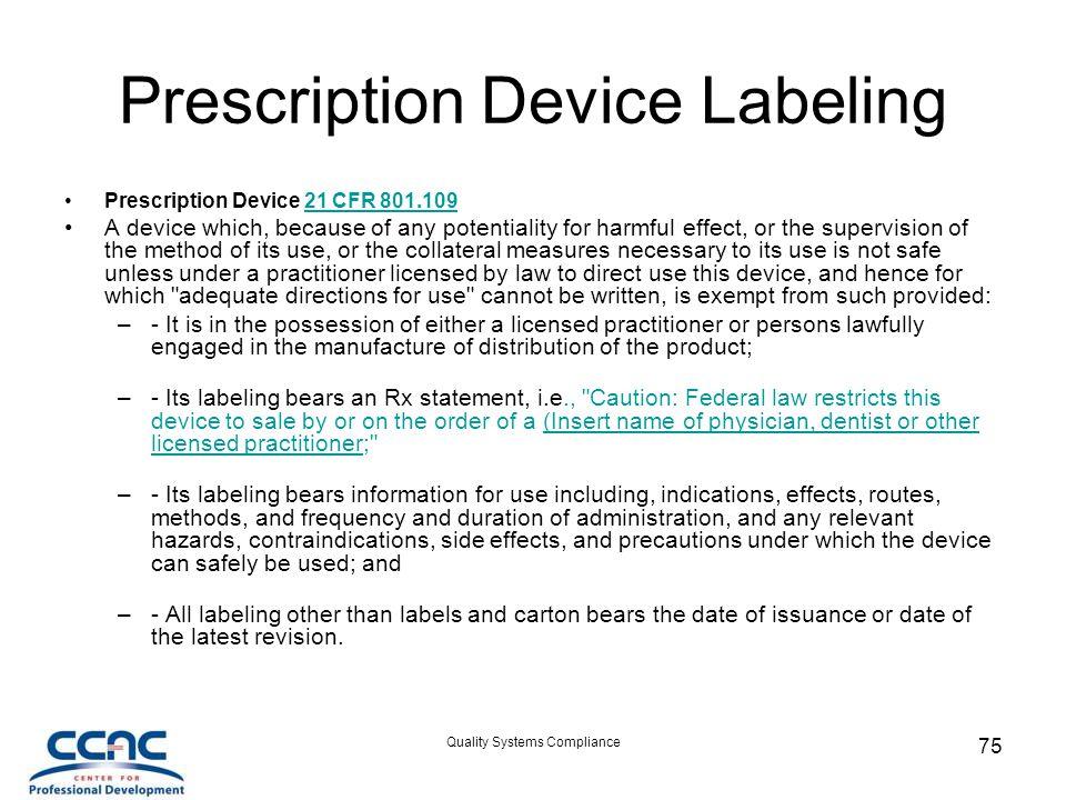 Prescription Device Labeling