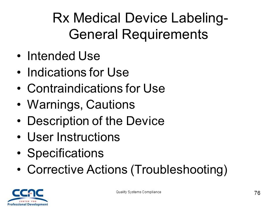 Rx Medical Device Labeling- General Requirements