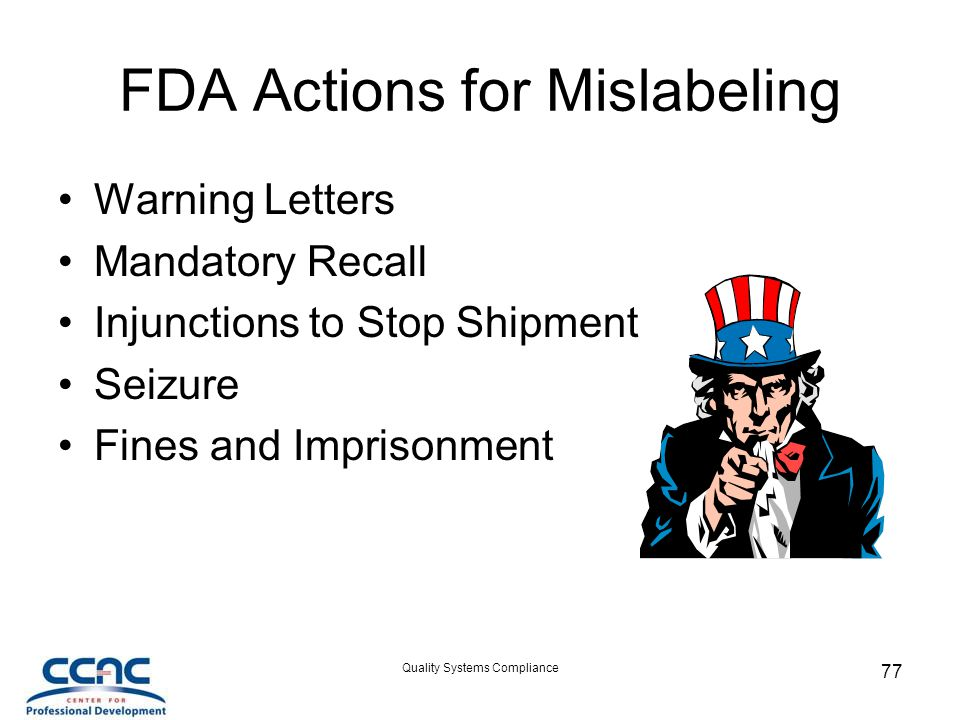 FDA Actions for Mislabeling