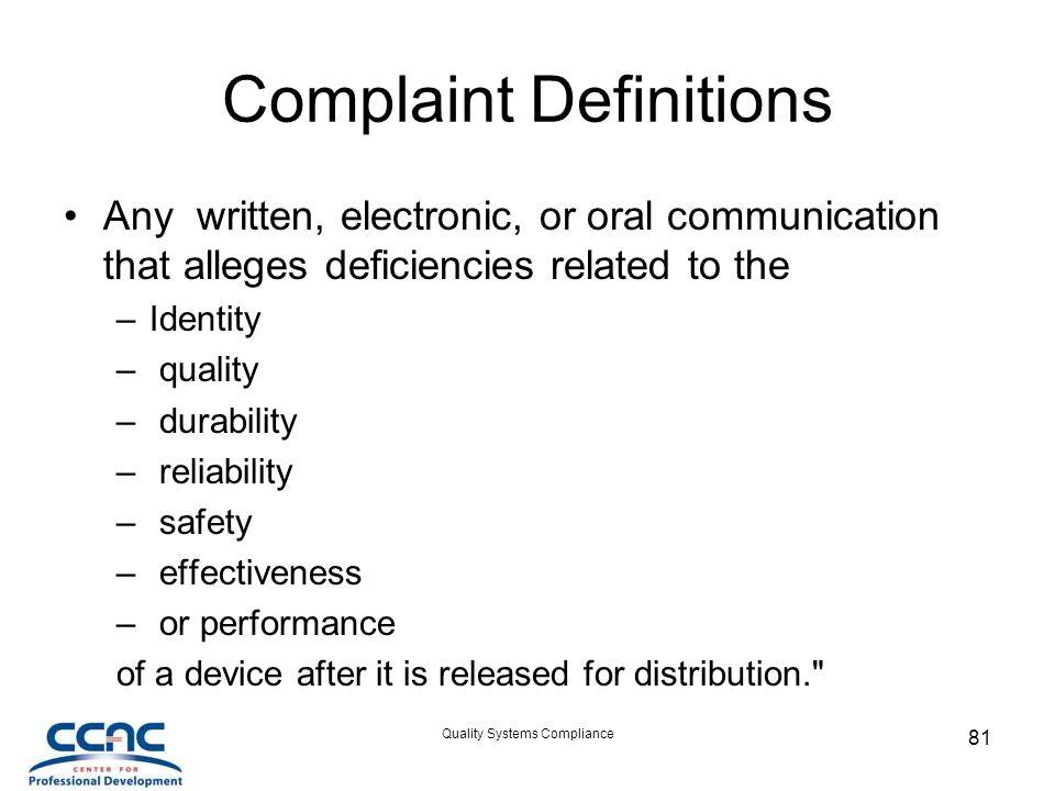 Complaint Definitions