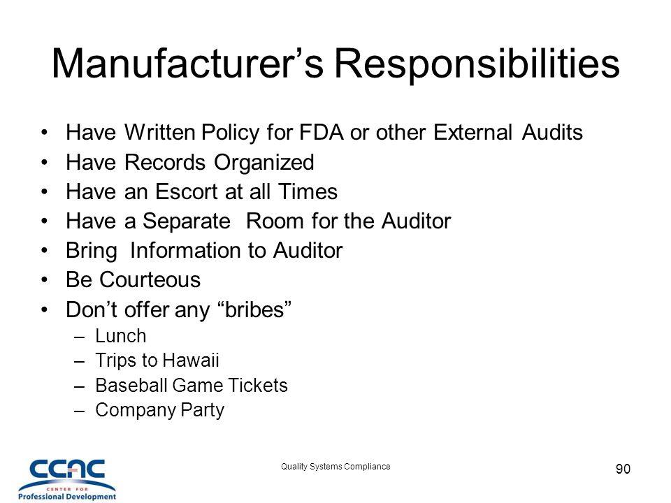 Manufacturer's Responsibilities