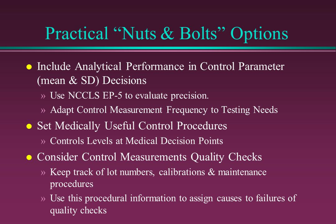 Practical Nuts & Bolts Options