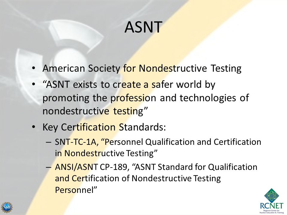 ASNT American Society for Nondestructive Testing