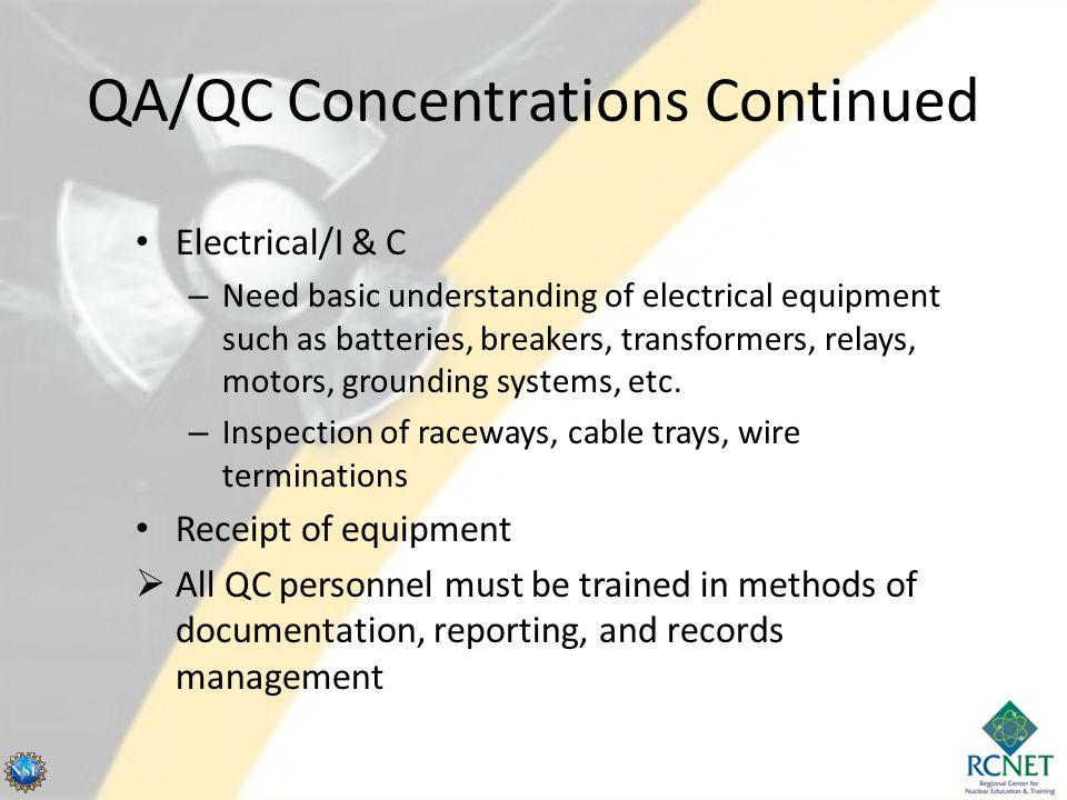 QA/QC Concentrations Continued