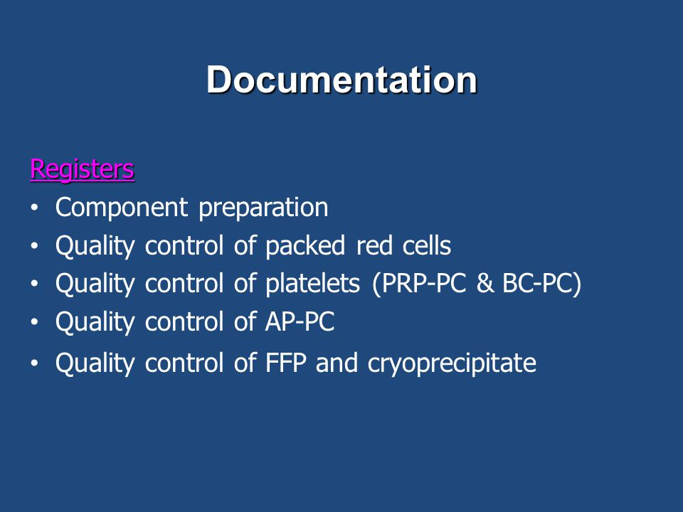 Documentation Registers Component preparation