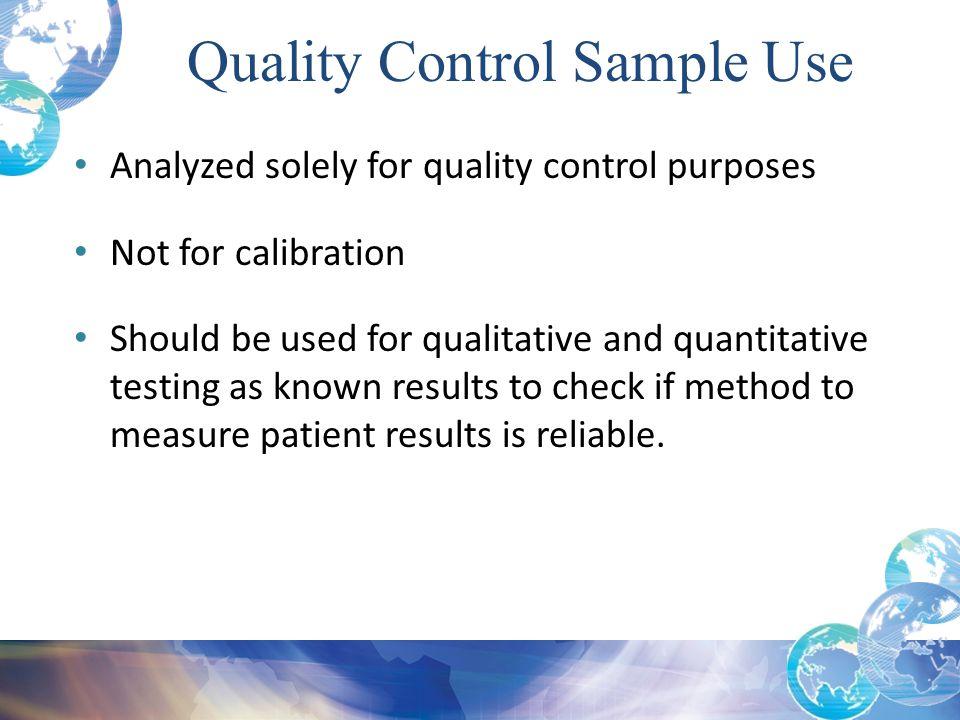 Quality Control Sample Use