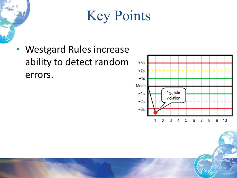 Key Points Westgard Rules increase ability to detect random errors.
