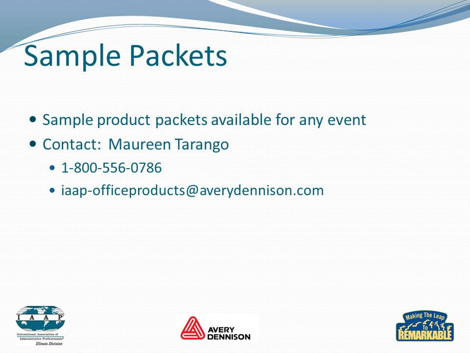 Sample Packets Sample product packets available for any event