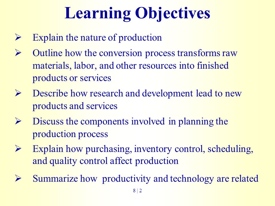 Learning Objectives Explain the nature of production