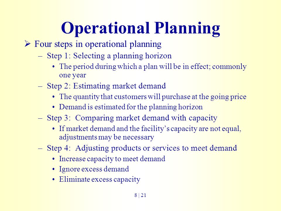 Operational Planning Four steps in operational planning