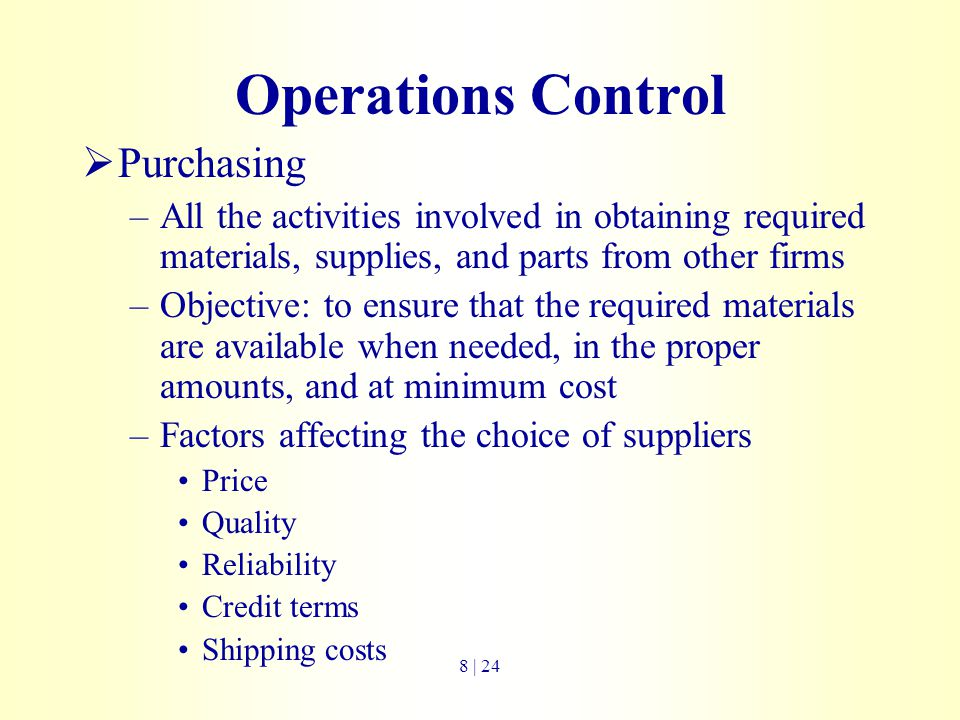 Operations Control Purchasing