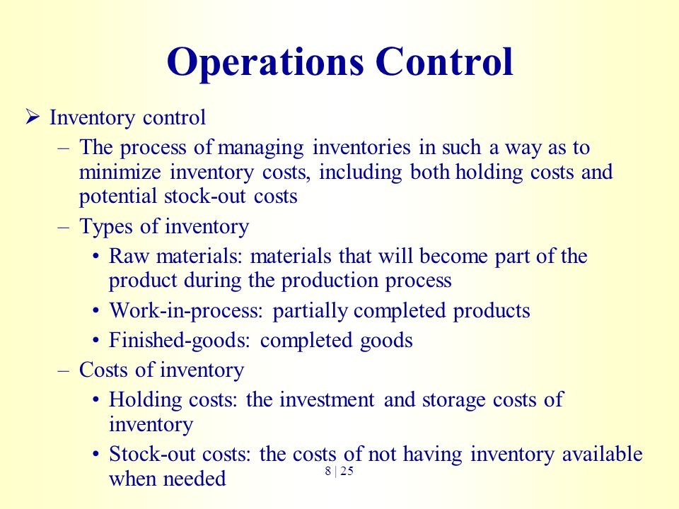 Operations Control Inventory control