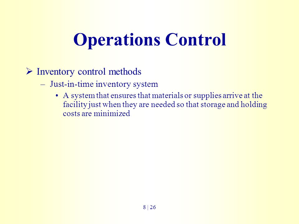 Operations Control Inventory control methods