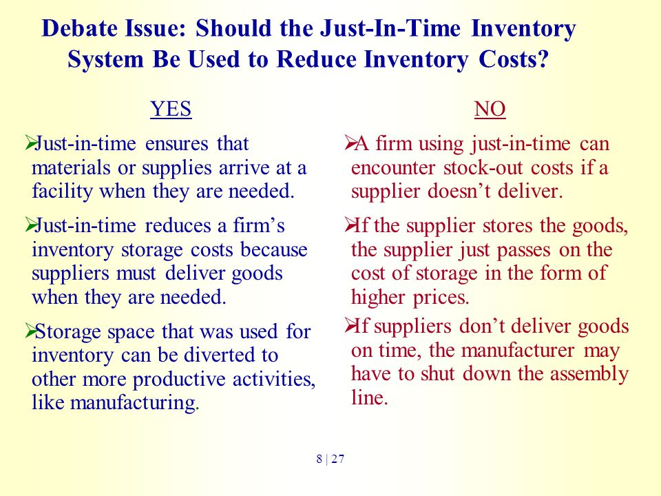Debate Issue: Should the Just-In-Time Inventory System Be Used to Reduce Inventory Costs