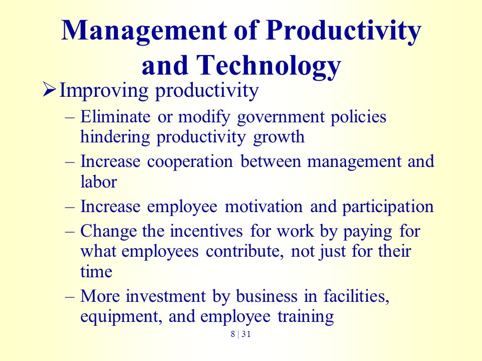 Management of Productivity and Technology
