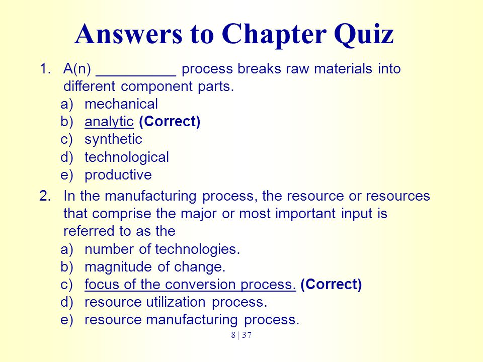 Answers to Chapter Quiz