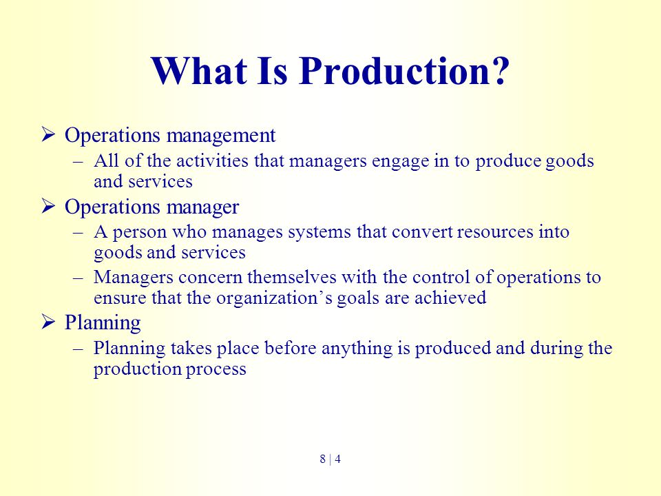 What Is Production Operations management Operations manager Planning