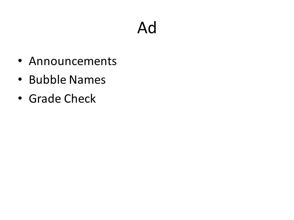 Ad Announcements Bubble Names Grade Check