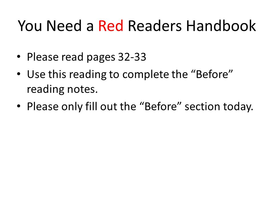 You Need a Red Readers Handbook