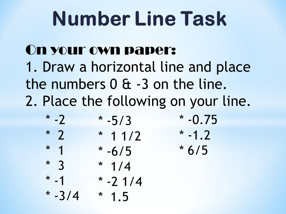 Number Line Task On your own paper: