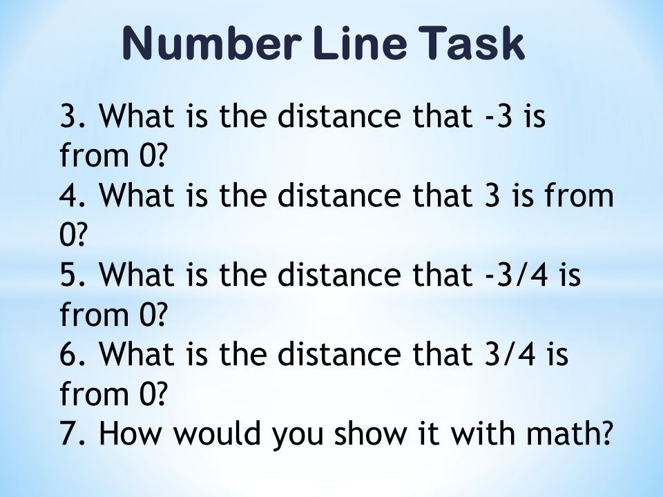 Number Line Task 3. What is the distance that -3 is from 0