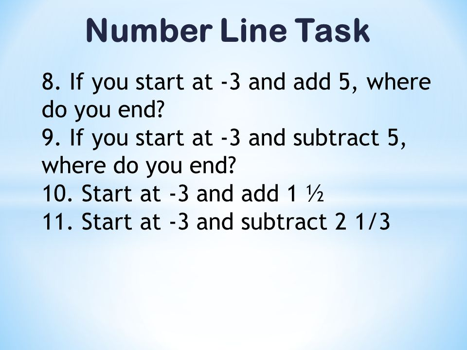 Number Line Task 8. If you start at -3 and add 5, where do you end