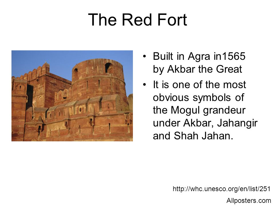 The Red Fort Built in Agra in1565 by Akbar the Great