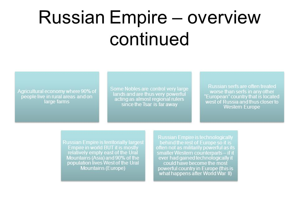Russian Empire – overview continued