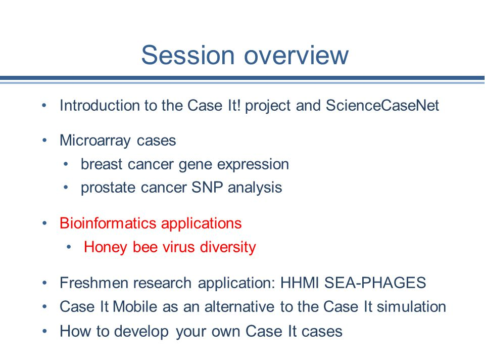 Session overview How to develop your own Case It cases