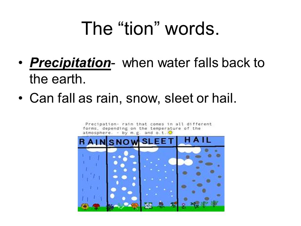 The tion words. Precipitation- when water falls back to the earth.