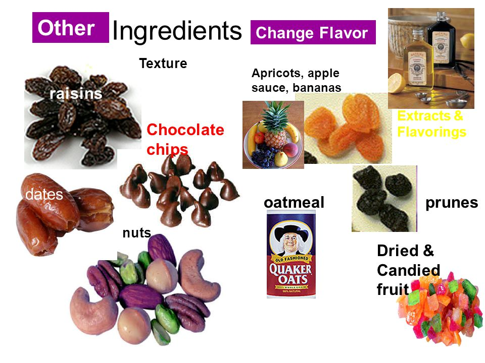 Ingredients Other Change Flavor raisins Chocolate chips dates oatmeal