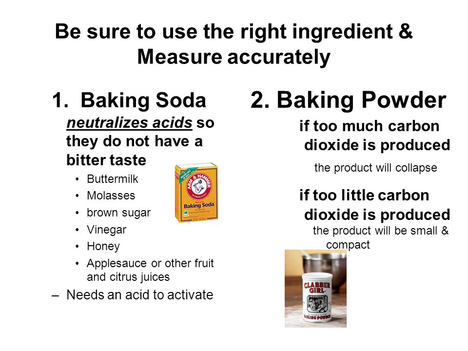 Be sure to use the right ingredient & Measure accurately