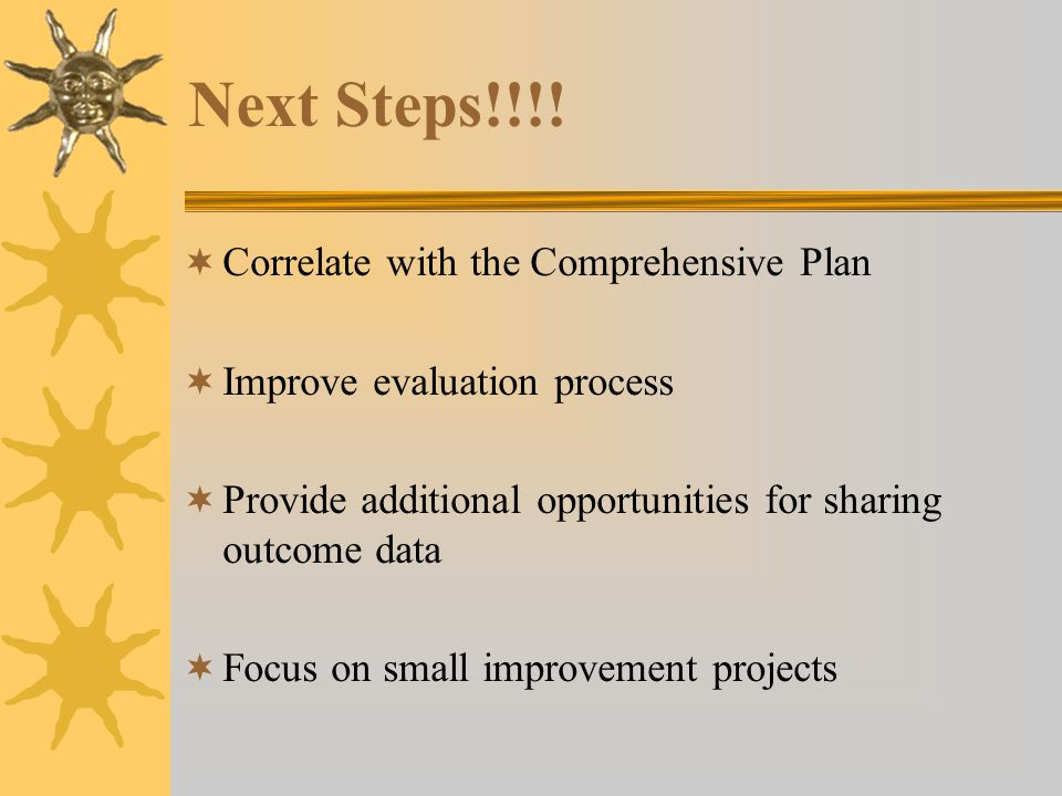 Next Steps!!!! Correlate with the Comprehensive Plan