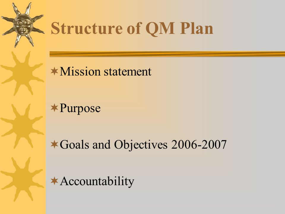 Structure of QM Plan Mission statement Purpose