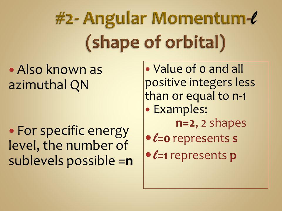 #2- Angular Momentum-l (shape of orbital)