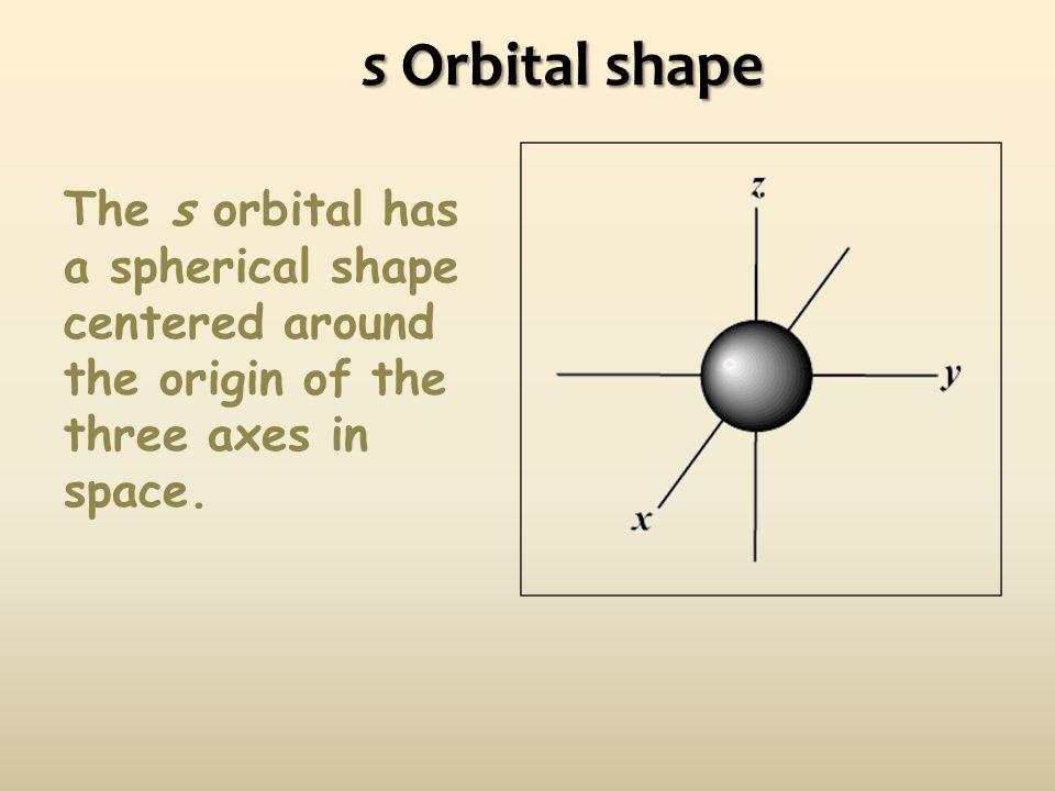 s Orbital shape The s orbital has a spherical shape centered around