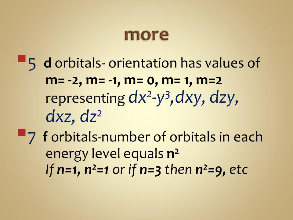 more 5 d orbitals- orientation has values of