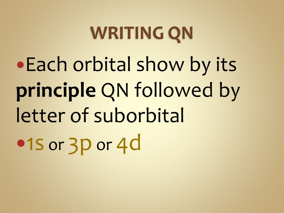 WRITING QN Each orbital show by its principle QN followed by letter of suborbital 1s or 3p or 4d