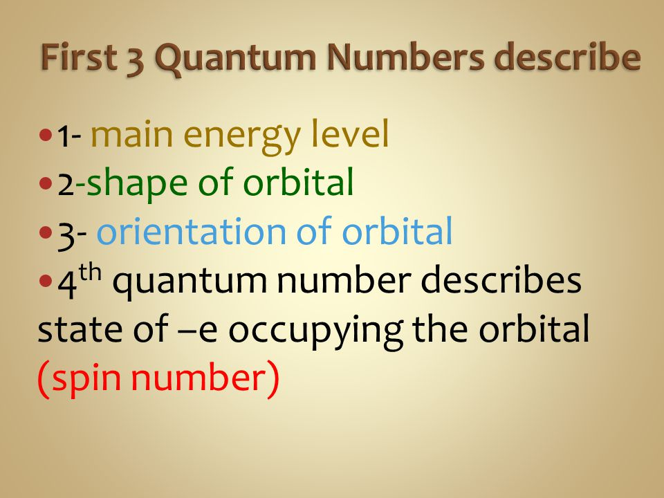 First 3 Quantum Numbers describe
