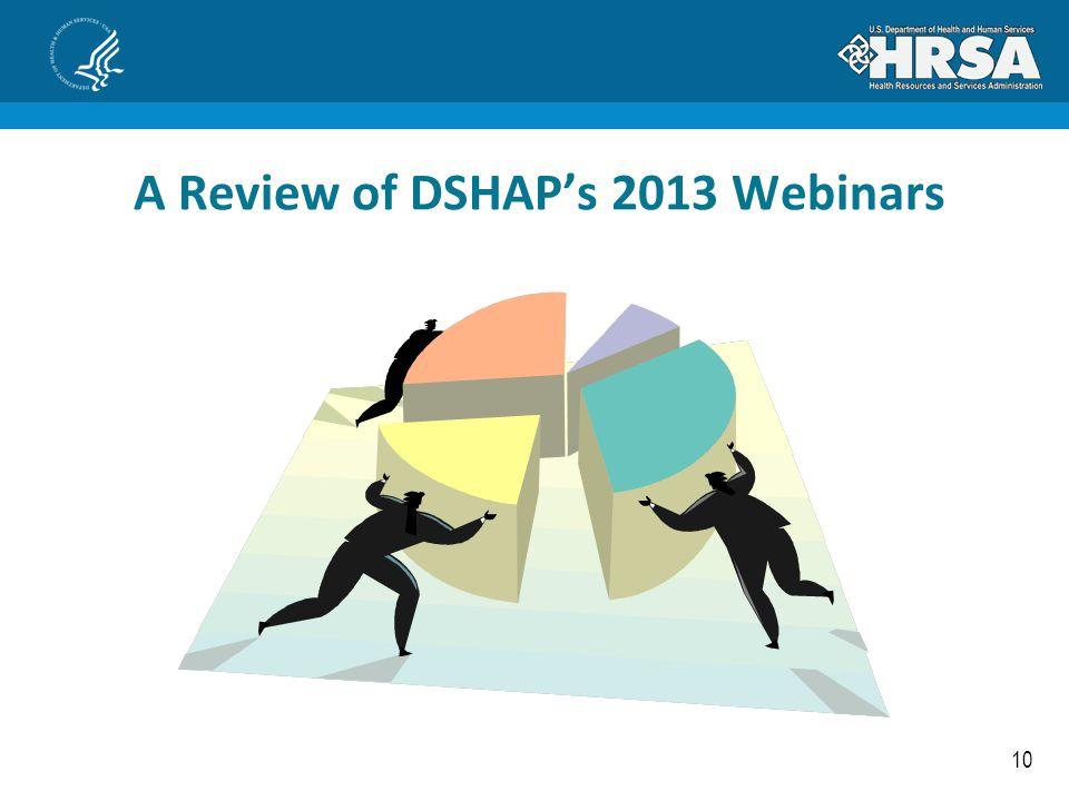 A Review of DSHAP's 2013 Webinars
