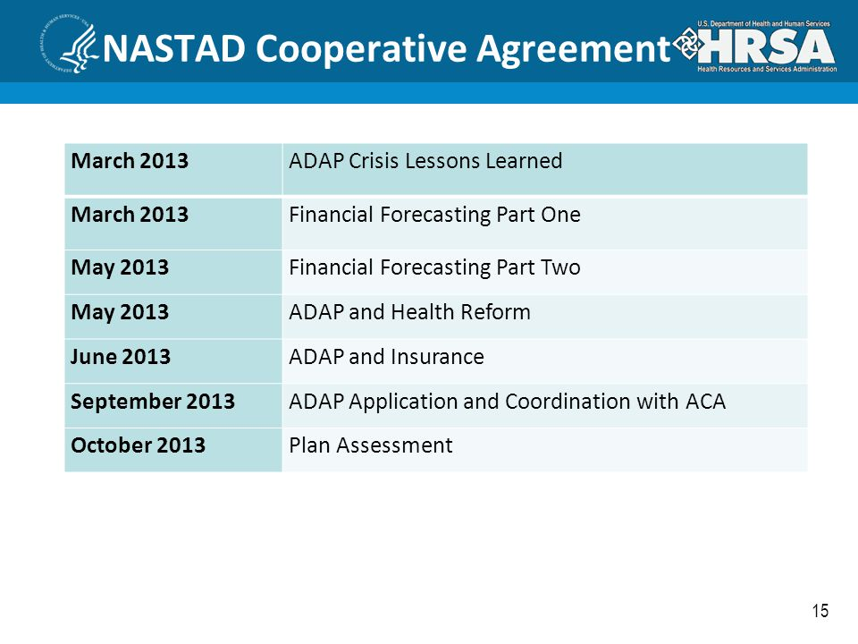 NASTAD Cooperative Agreement