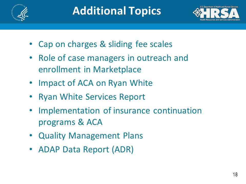 Additional Topics Cap on charges & sliding fee scales