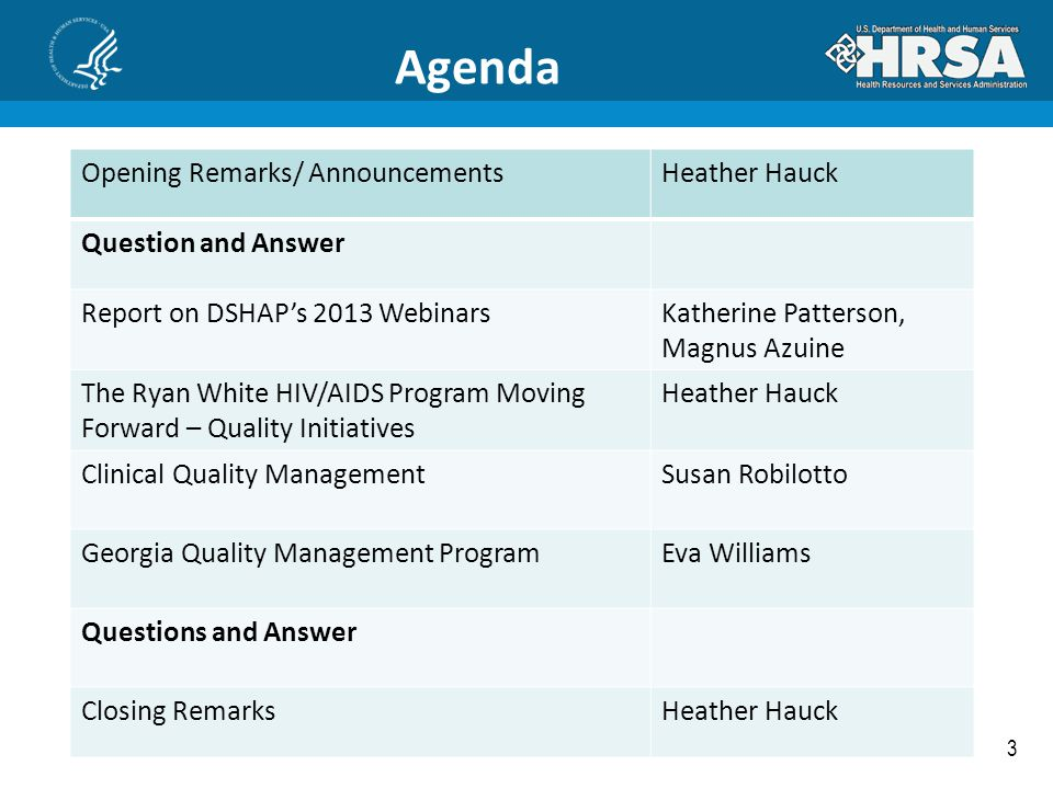 Agenda Opening Remarks/ Announcements Heather Hauck