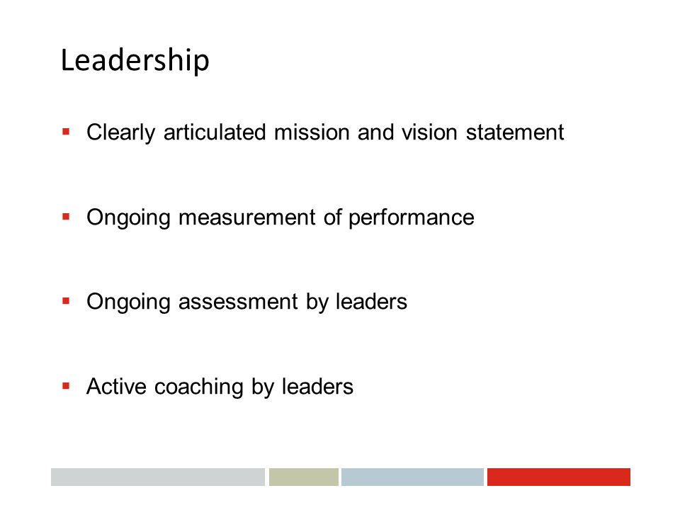 Leadership Clearly articulated mission and vision statement