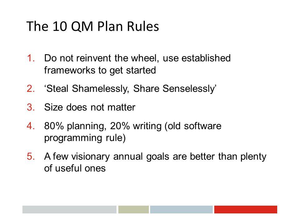 The 10 QM Plan Rules Do not reinvent the wheel, use established frameworks to get started. 'Steal Shamelessly, Share Senselessly'