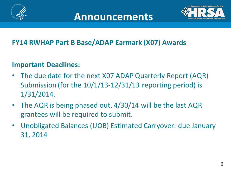 Announcements FY14 RWHAP Part B Base/ADAP Earmark (X07) Awards