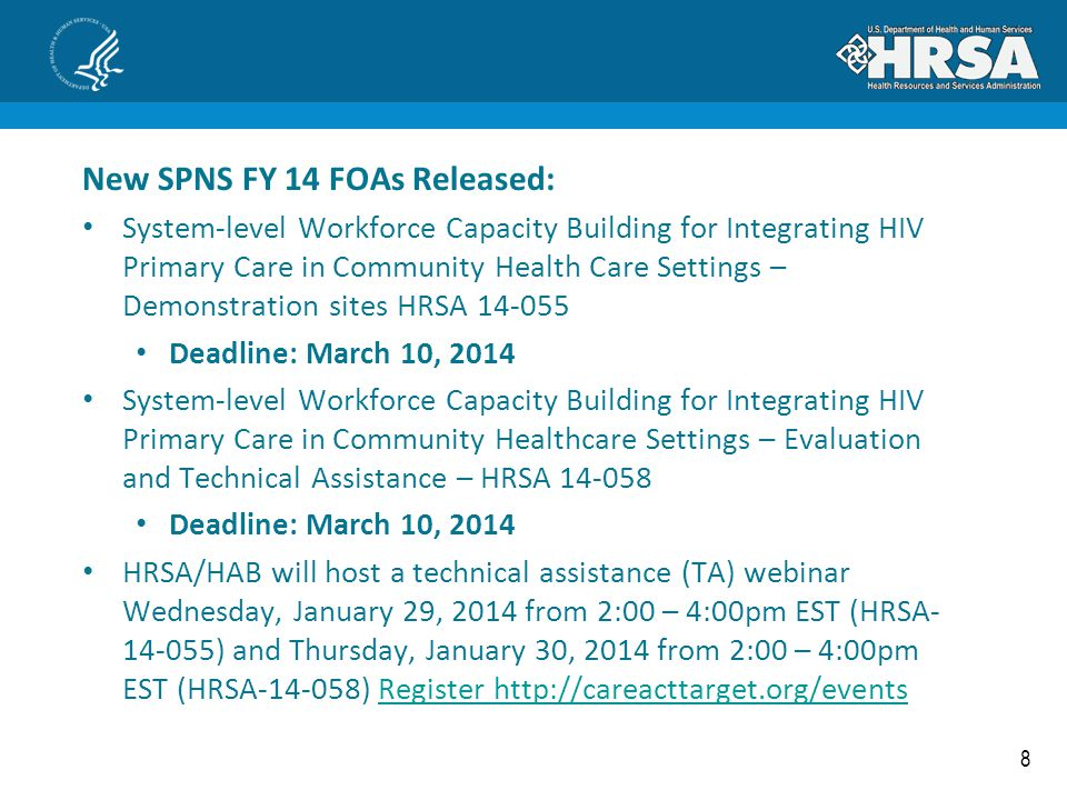 New SPNS FY 14 FOAs Released: